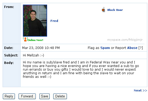 Some days you feel like a nut, some days you're just myspace messaged by one.