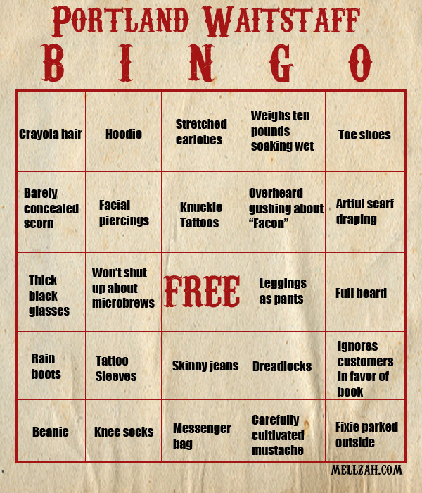 Portland Waitstaff Bingo