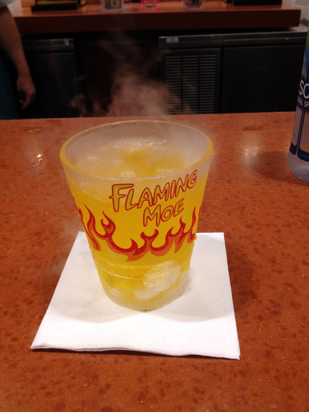 This is not a Flaming Moe. This is orange drink.