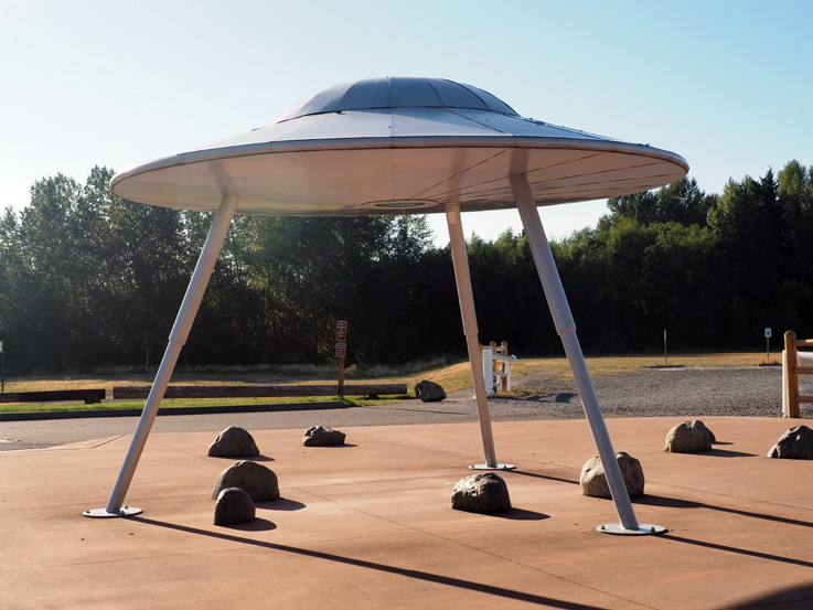 Spotted on the Roadside: …A flying saucer? You mean the kind from up there?