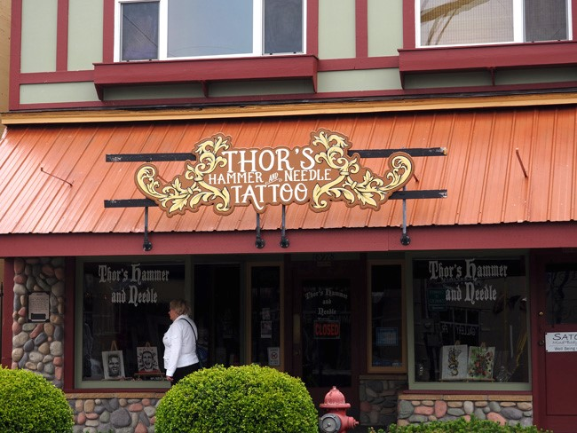 thors hammer and needle shopfront