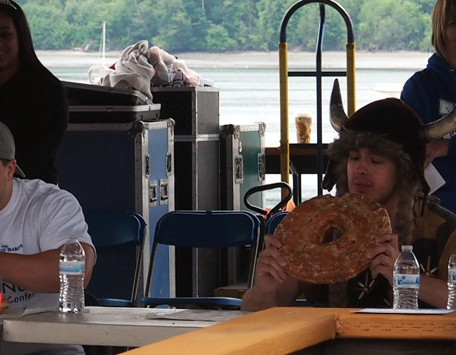viking contemplates giant donut