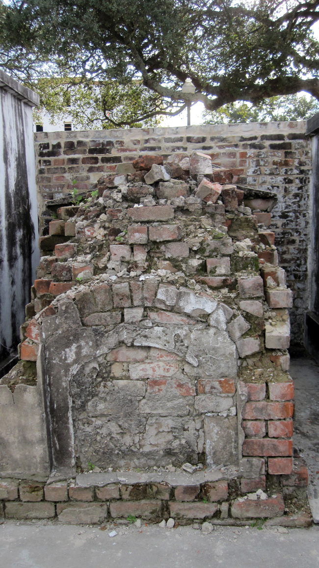 crumbling brick tomb