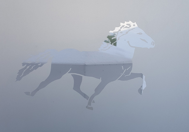viking horses frosted glass