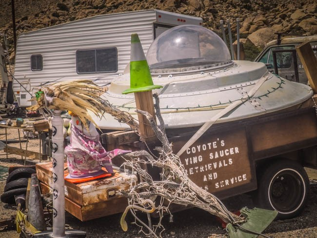 Spotted on the Roadside: Coyote's Flying Saucer Retrievals and Repair Service in Jacumba Hot Springs, CA
